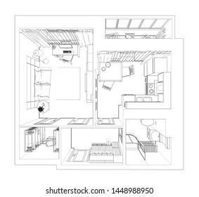 3d render of isolated modern flat. Design of apartments with top view, with ready-to-use sketch interior design, modern furniture set. Living space with using monochrome, linear style and black edges.