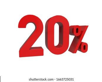 3d Render: ISOLATED Red 20% Percent Discount 3d Sign on White Background, Special Offer 20% Discount Tag, Sale Up to 20 Percent Off, Twenty Percent Letters Sale Symbol, Special Offer Label