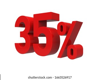 3d Render: ISOLATED Red 35% Percent Discount 3d Sign on Light Background, Special Offer 35% Discount Tag, Sale Up to 35 Percent Off, Thirty-five Percent Letters Sale Symbol, Special Offer Label