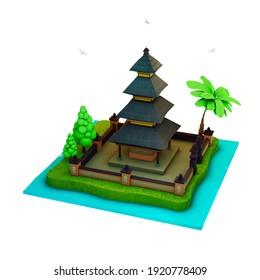 3d render isometric pura at bali indonesia