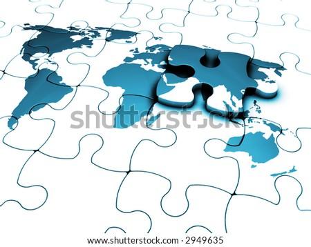 3 d render jigsaw world map final stock illustration 2949635 3d render of a jigsaw of a world map with the final piece just added gumiabroncs Gallery