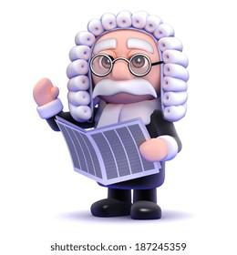 3d render of a judge reading a newspaper