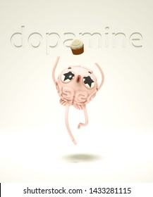 3d render of the jumping brain-guy under influence of dopamine