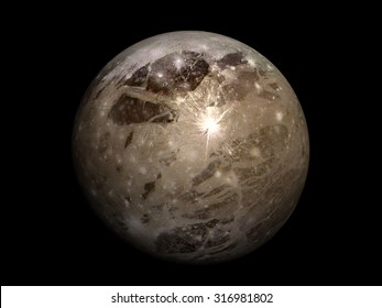 3D render Jupiter Moon Ganymede on a black background, high resolution.Elements of this image furnished by NASA