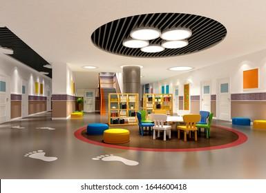 3d render of kindergarten school interior