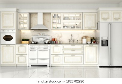 3d render of kitchen in classic style 3d illustration