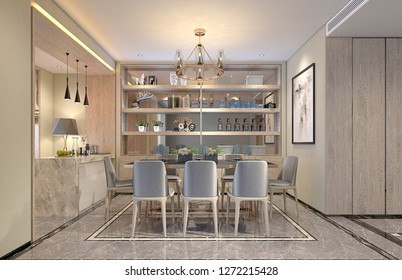 3d render of kitchen space at home