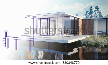 3D render of a lake side summer residence - draft