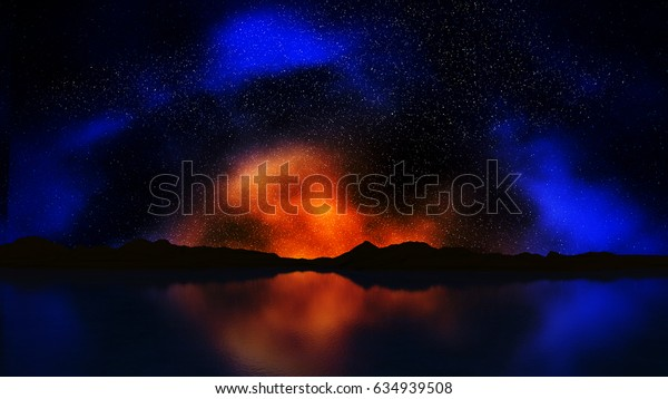 3D render of a landscape with colourful night sky