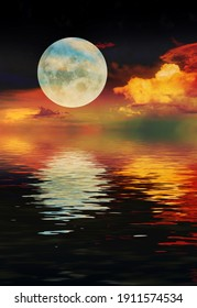 3d render landscape with moon and sea night starry sky sunset clouds orange
