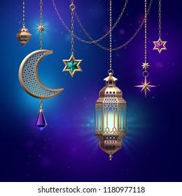 3d render, lanterns stars hanging on golden chains, ornate crescent, glowing light, arabic traditional decor, tribal festive decoration, Ramadan Kareem, greeting card, starry night background