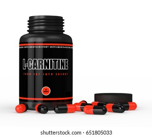 3D render of l-carnitine bottle with pills isolated over white background