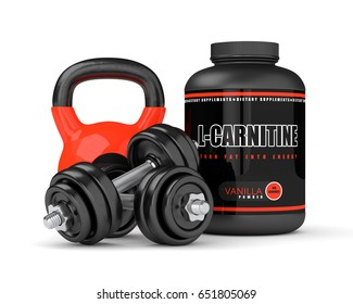 3D render of l-carnitine with dumbbells and kettlebell isolated over white background