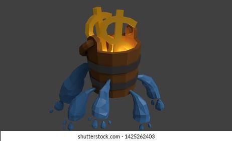 3D render of a leaking bucket of water/revenue