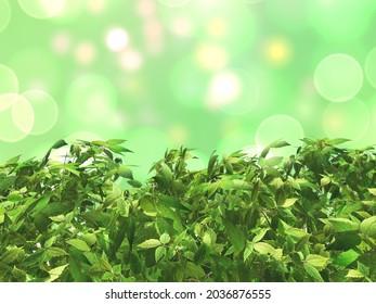 3D render of leaves against a bokeh lights background