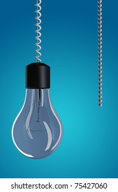 3d render of a light bulb with chain