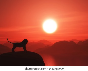 3D render of a lion silhouetted against a sunset ocean landscape