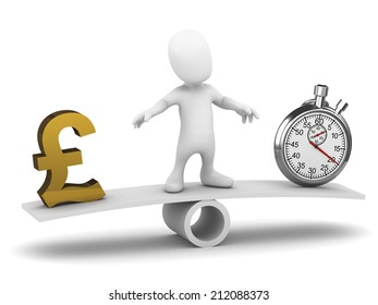 3d render of a little person on a seesaw balancing UK Pounds Sterling with a stopwatch