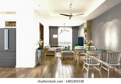3d render. Living and dining room interior.