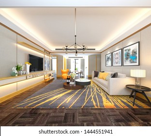 3d render. Living room interior.