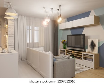 3d render living room and kitchen interior design. Modern studio apartment in the Scandinavian minimalist style ambient occlusion