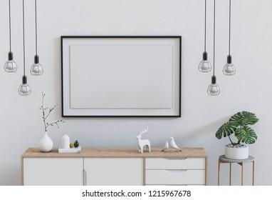 3D render of living Room mockup blank poster.