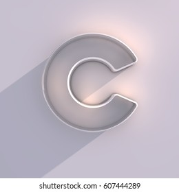 3D render of long shadow letter C on white background