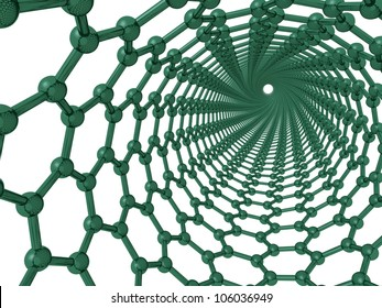 3d render looking through a chiral carbon nanotube