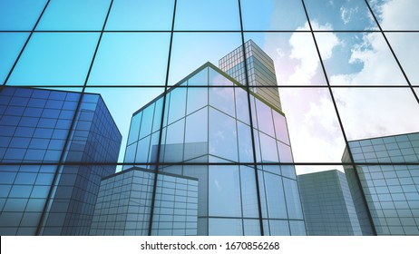 3D render  low angle view of skyscrapers ,Blue cloud reflection at the window glass of office building with the edge line