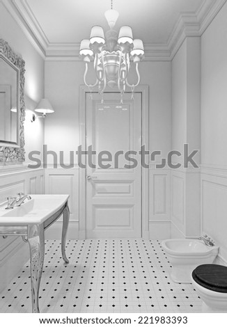 3 D Render Luxury Bathroom White Color Stockillustration 221983393
