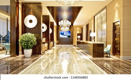 3d render luxury hotel entrance lobby