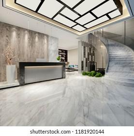 3d render of luxury hotel lobby entrance reception