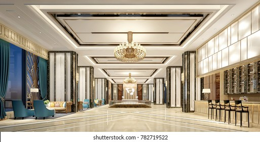 3d render of luxury hotel lobby
