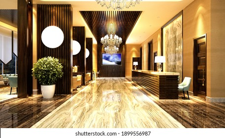 3d render of luxury hotel reception, lobby and waiting space hall