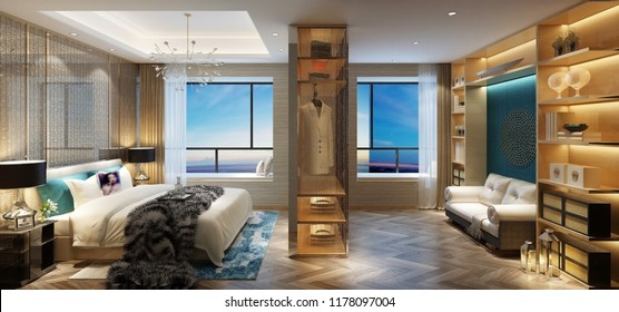 3d render of luxury hotel room suite