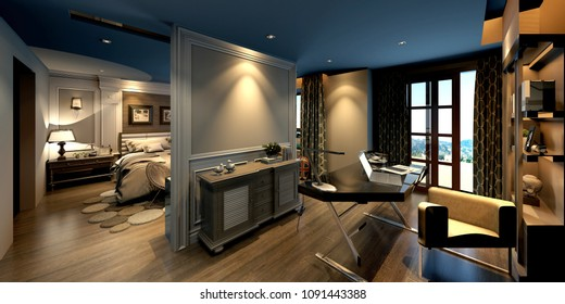 3d render of luxury hotel suite