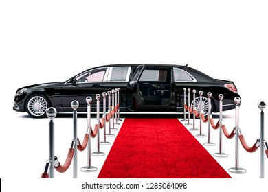 3d render of luxury limousine car and red carpet