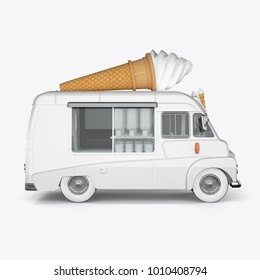 3D render machines for ice cream on a white background