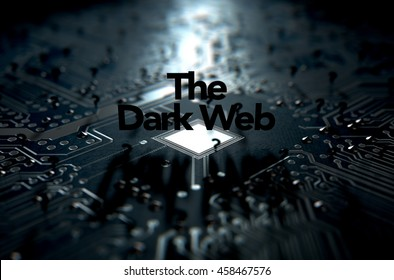 A 3D render of a macro view concept of a dimly lit circuit board with the word dark web and scattered black question marks on a dark background