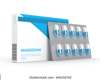3d render of magnesium pills on blister isolated over white background