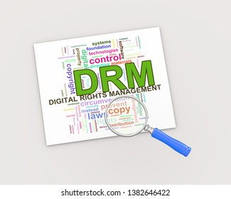 3d render of magnifying glass on wordcloud tags of drm digital rights management