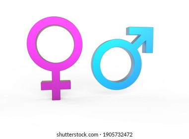 3d render Male And Female Symbols In Blue And Pink Color With Shadow On The Ground.