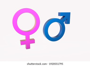 3d render Male And Female Symbols In Blue And Pink Color With Shadow On The Ground