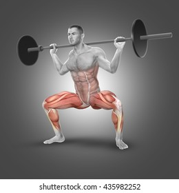 3D render of a male figure in barbell plie squat pose with muscles used highlighted