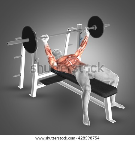 Enjoyable 3 D Render Male Figure Barbell Bench Stock Illustration Lamtechconsult Wood Chair Design Ideas Lamtechconsultcom