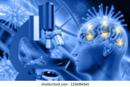3D render of a male figure with brain on defocussed background with microscope and virus cells