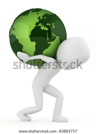 3 d render man carrying earth stock illustration 83883757 shutterstock