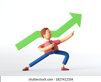 3d render. Man cartoon character with growing chart, ascending graph, green arrow goes up. Business clip art isolated on white background.
