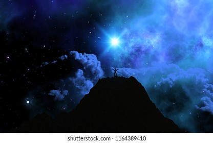 3D render of a man stood on top of a mountain against a space sky