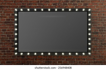 3D render Marquee light board sign on brick background